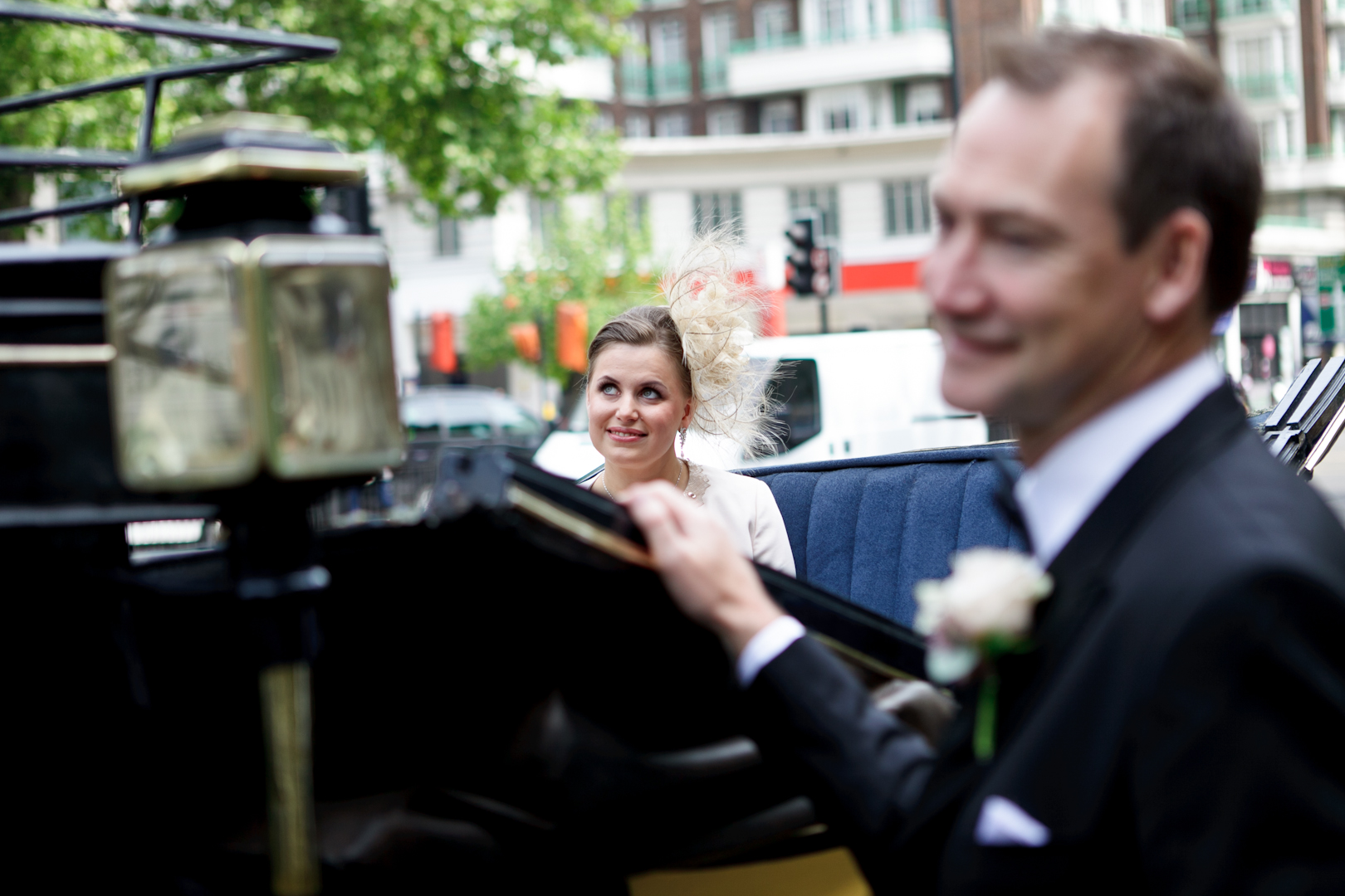 Bride arrives at the ceremony by horse drawn carriage