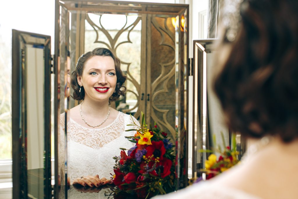 London bride to be looks in the mirror one last time as a singleton http://www.weddingphotographerslondon.com